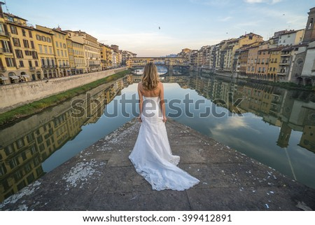 Bride in Florence - stock photo