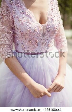 bride in pink wedding dress - stock photo