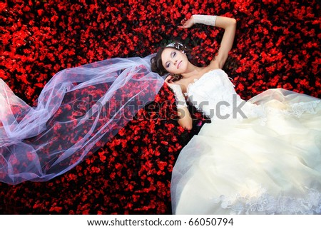 bride in the flowers. red flowers and white dress - stock photo