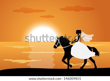 Bride in wedding dress riding a horse on the background of the sea and the sunset  - stock photo