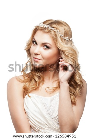 bride in white dress with beauty wedding coiffure - stock photo