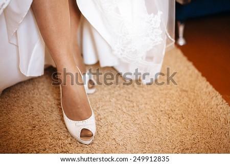 bride legs - stock photo
