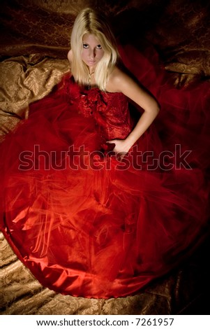 bride lin red wedding dress, studio shot, - stock photo