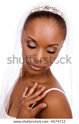 Bride looking down. - stock photo