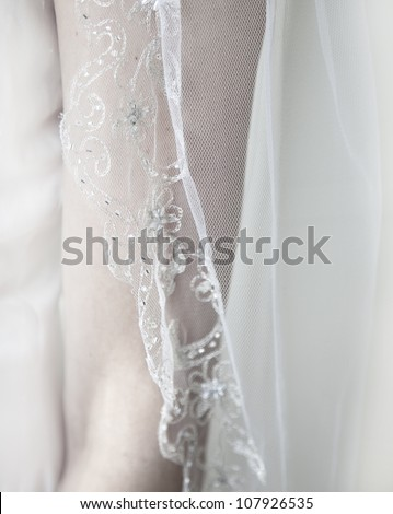 Bride on a wedding day - close up of veil in black and white - stock photo