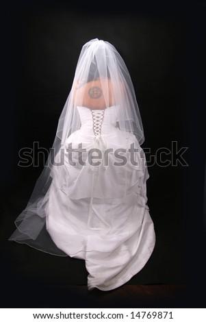 Bride on black background - stock photo