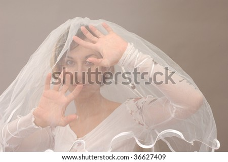 bride on gray background close-up - stock photo