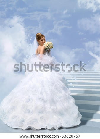 bride on stair to cloud collage - stock photo