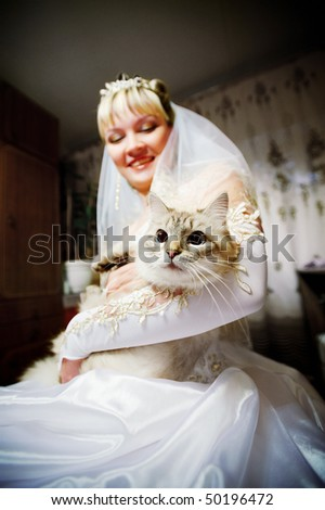 Bride on the wedding day with the cat in the hands - stock photo