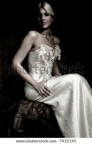 bride portrait in wedding dress, studio shot - stock photo