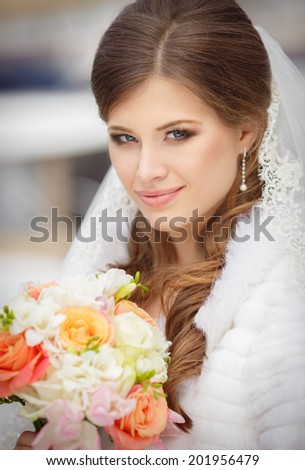 Bride portrait wedding day, young beautiful woman at marriage dress. soft tonality. series