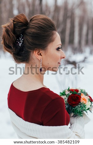 Bride portrait. Winter. Claret