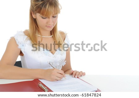 bride puts his signature. Isolated on white background