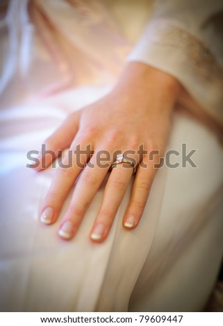 Bride's hand with the engagement ring - stock photo