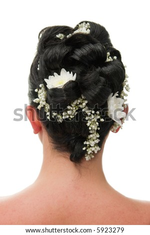 Bride's head hairstyle isolated on white - stock photo