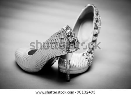 Bride's Wedding Shoes, black and white tone - stock photo