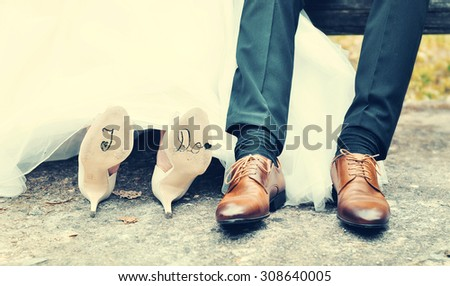 "Bride saying ""I do"" to a marry proposal - stock photo"