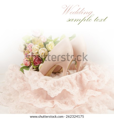 Bride shoes with flowers. - stock photo