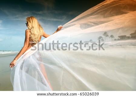bride vacation - stock photo
