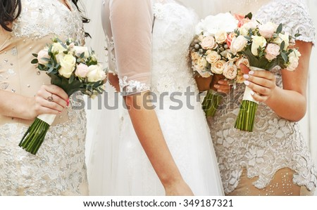Bride wearing gorgeous wedding dress, with bridesmaids posing.  - stock photo