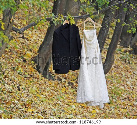 Bride white wedding dress and groom black suit hanging in a tree - stock photo