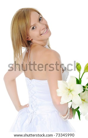 bride with a bouquet. Isolated on white background