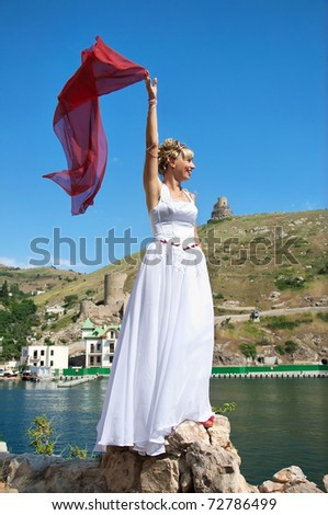 bride with a wedding veil  on the background of beautiful panoramas - stock photo