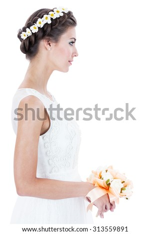 bride with a wreath on a white background - stock photo