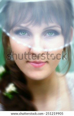 Bride with green eyes - stock photo