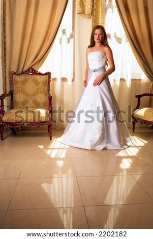 Bride with long loose hair standing in a richly decorated room in a pool of natural light - stock photo