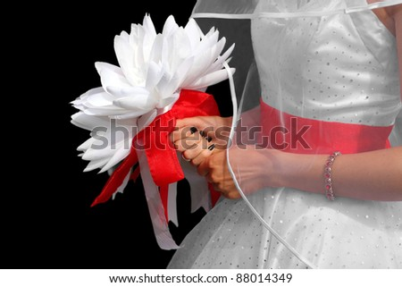 Bride with Subtle Wedding Dress Holding White Bouquet