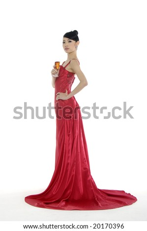 bride with wine glass - stock photo