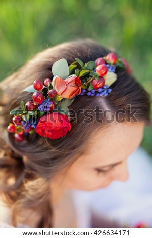 brides wreath on the hair - stock photo