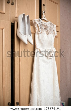 bridesmaid dress. Wedding shoes