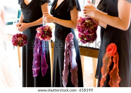 bridesmaid's bouquets - stock photo
