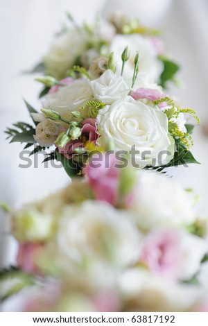Bridesmaids bouquets for a wedding ceremony - stock photo