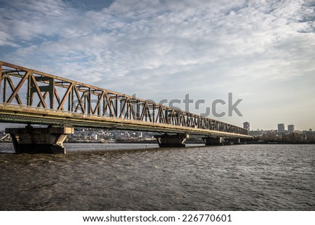 Bridge across Danube river - Belgrade, Serbia. - stock photo