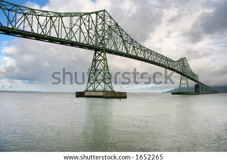 Bridge across ocean bay - stock photo