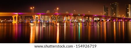 Bridge across the Atlantic ocean, MacArthur Causeway Bridge, Miami, Miami-Dade County, Florida, USA - stock photo