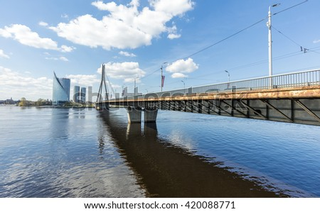 Bridge  across the Daugava river in Riga, Estonia - stock photo