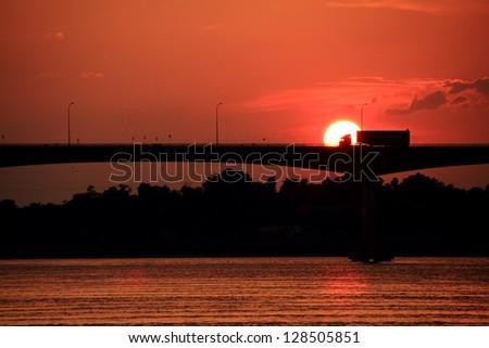 Bridge across the Mekong River. Nong Khai. - stock photo