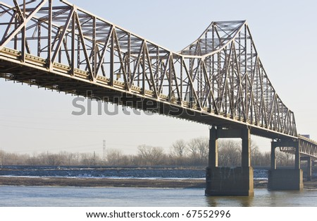 Bridge across the Mississippi at St. Louis - stock photo