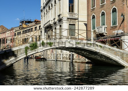 Bridge along the Grand Canal in Venice Italy