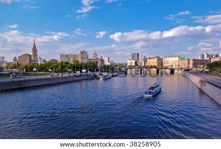 Bridge and boat at Moskva river in Moscow, Russia - panoramic
