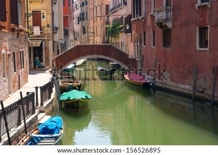 Bridge and little chanel in Venice, Italy - stock photo