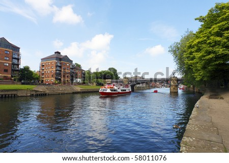 Bridge and modern apartments, York, UK - stock photo