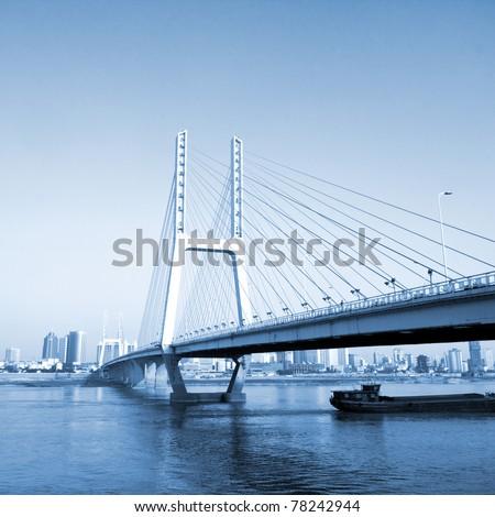 bridge and sunset - stock photo