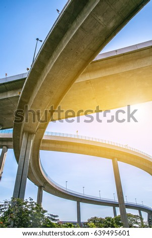 Bridge. Architecture lines under the bridge, Elevated expressway,The curve of bridge, bangkok, thailand