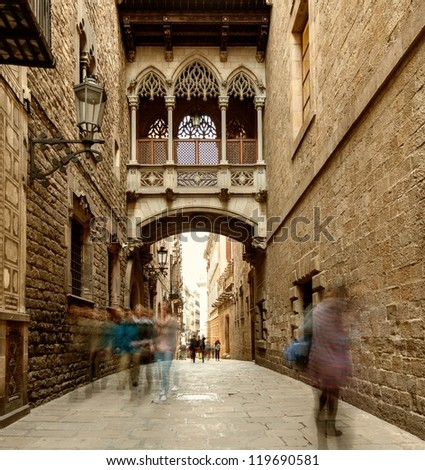 Bridge at Carrer del Bisbe  in Barri Gotic, Barcelona - stock photo