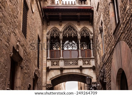 Bridge at Carrer del Bisbe in Barri Gotic, Barcelona. Spain - stock photo
